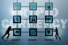 Der Geschäftsmann in blockchain cryptocurrency Konzept Stockfotos