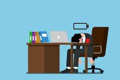 Der Geschäftsmann, das kein Energie mehr haben, erschöpft und kann seine Arbeit nicht fortsetzen Lizenzfreies Stockfoto