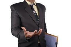 Der Geschäftsmann, der den Finger auf Sie zeigt, lokalisierte auf weißem backgr Stockfotografie