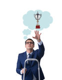 Der Geschäftsmann, der heraus für prize Schale erreicht Stockbilder
