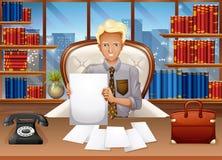 Der Geschäftsmann, der heraus sortiert, archiviert stock abbildung