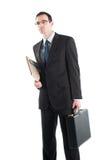 Der Geschäftsmann, der oben entsprochen wird und bereiten für Arbeit vor lizenzfreie stockfotos