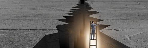 Der Geschäftsmann, der vom Abstand auf Leiter escapeing ist Stockbilder