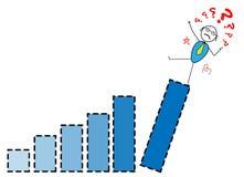 Der Geschäftsmann, der vom Spitzendiagramm fällt Stock Abbildung