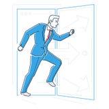 Der Geschäftsmann, der durch die Tür hetzt - zeichnen Sie Designartillustration Lizenzfreies Stockfoto
