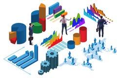 Der Geschäftsmann in Geschäft Analytics infographics Konzept stock abbildung