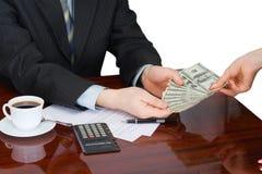 Der Geschäftsmann im Büro Stockfoto