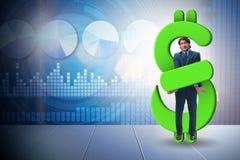 Der Geschäftsmann im Dollar und im Schuldkonzept stockfotografie