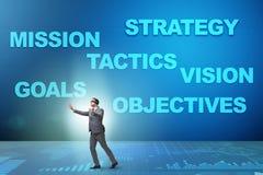 Der Geschäftsmann kann Unternehmensstrategie nicht verstehen Stockfoto