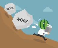 Der Geschäftsmann müssend zu viel tun arbeitet lizenzfreie abbildung