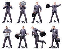 Der Geschäftsmann mit Fesseln auf Weiß Lizenzfreie Stockfotografie