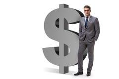 Der Geschäftsmann nahe bei dem Dollarzeichen lokalisiert auf Weiß Lizenzfreie Stockbilder