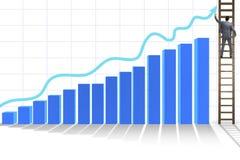 Der Geschäftsmann, der in Richtung zum Wachstum in den Statistiken klettert Stockbilder