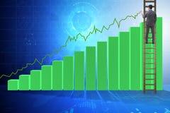 Der Geschäftsmann, der in Richtung zum Wachstum in den Statistiken klettert Lizenzfreies Stockbild