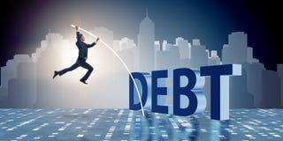 Der Geschäftsmann, der Schuldenlast im Geschäftskonzept vermeidet lizenzfreie abbildung