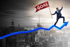 Der Geschäftsmann, der seine Unternehmensziele und Ziele erzielt Lizenzfreies Stockfoto