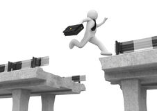 Der Geschäftsmann springend über den Straßenabstand lizenzfreie abbildung