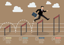 Der Geschäftsmann springend über die höhere infographic Hürde Stockbilder