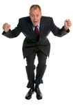 Der Geschäftsmann springend für Freude. Lizenzfreie Stockbilder