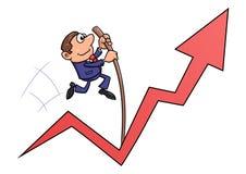 Der Geschäftsmann springend mit dem Stabhochsprung Lizenzfreies Stockfoto