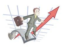 Der Geschäftsmann springt auf Sprungbrett Stockfotografie