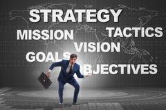Der Geschäftsmann verwechselt mit strategischen Zielen Lizenzfreie Stockbilder