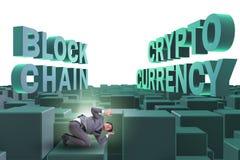 Der Geschäftsmann verwirrt über alle cryptocurrencies vektor abbildung