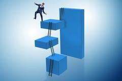 Der Geschäftsmann, der vom hohen Block im Ausfallkonzept fällt Lizenzfreies Stockbild