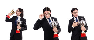 Der Geschäftsmann zugesprochen mit der prize Schale lokalisiert auf Weiß Stockfotos