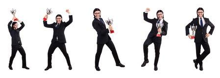 Der Geschäftsmann zugesprochen mit der prize Schale lokalisiert auf Weiß Lizenzfreie Stockfotos