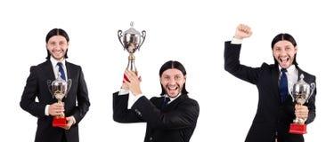 Der Geschäftsmann zugesprochen mit der prize Schale lokalisiert auf Weiß Lizenzfreie Stockfotografie