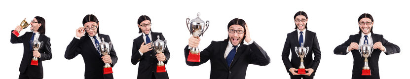 Der Geschäftsmann zugesprochen mit der prize Schale lokalisiert auf Weiß Lizenzfreies Stockbild