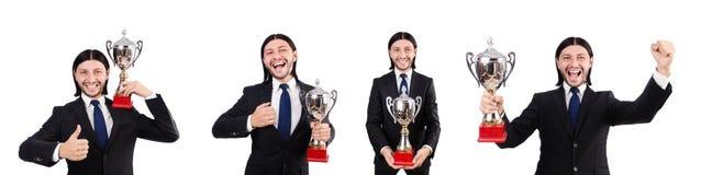 Der Geschäftsmann zugesprochen mit der prize Schale lokalisiert auf Weiß Lizenzfreie Stockbilder