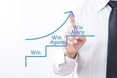 Der Geschäftsmannhahnpfeil, der oben mit mit Gewinn für beide Parteien gewinnen zeigt wieder, mehr Co Lizenzfreie Stockbilder