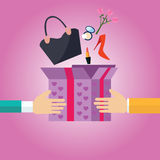 Der Geschenkpräsentkarton, der zur weiblichen Materialhandtasche der Mädchen offen ist, beschuht Überraschungs-Einkaufskarikatur  Stockbild