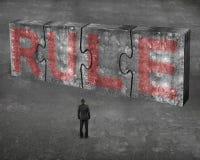 Der Geschäftsmann, der rotes Regelwort auf enormem Beton gegenüberstellt, verwirrt connec Stockfotografie
