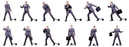 Der Geschäftsmann mit Fesseln auf Weiß Stockbilder