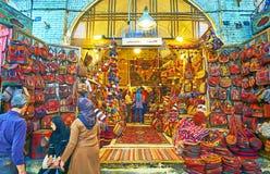 Der gesponnene Taschen ` Speicher in Vakil-Basar, Shiraz, der Iran Lizenzfreie Stockbilder