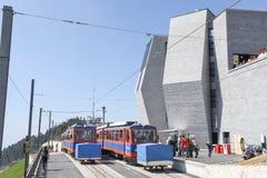 Der Gestellzug, der den Gipfel des Bergs Generoso erreicht Lizenzfreies Stockbild