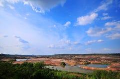 Der getrocknete Fluss, globale Erwärmung Stockbilder