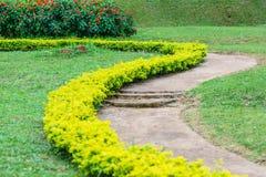Der gewölbte Gehweg im Garten Stockbild