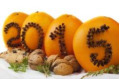 2015 der Gewürze auf Orangen Stockbild