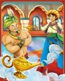 Der Gin zieht sich - Ritter und Feen - Manga-Art - Illustration für die Kinder zurück stockfoto