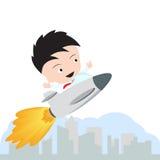 Der glückliche Geschäftsmann und das Fliegen mit Rakete für wachsendes Geschäft beginnt oben auf weißem Hintergrund, Illustration Stockfoto