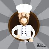 Der glückliche Pizzahersteller, der Daumen herstellt, up Zeichen Modischer stilvoller Charakter kann in der Restaurantidentität b lizenzfreie abbildung