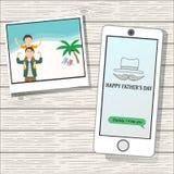 Der glückliche Vatertag auf dem hölzernen Hintergrund Stockbild