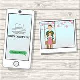 Der glückliche Vatertag mit linearem Artsymbol Lizenzfreie Stockbilder