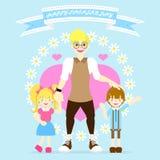 der glückliche Vatertag mit Vati und Junge und Mädchen, Blume, Herz, Bandfahne, blauer Hintergrund lizenzfreie abbildung