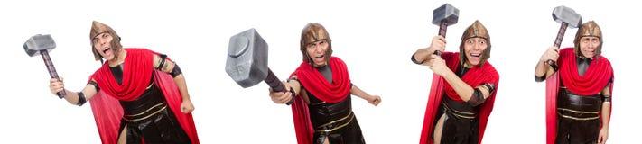Der Gladiator lokalisiert auf Weiß stockfotografie