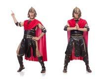 Der Gladiator lokalisiert auf Weiß lizenzfreie stockfotografie